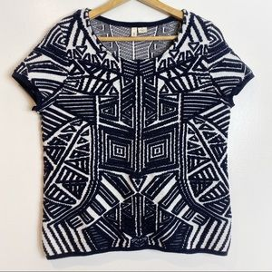 Anthropologie Moth Abstract Black Lined Sweater